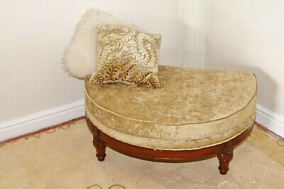 Large Footstool Pouffe Wood Mahogany and Velvet Ottoman Foot Stool
