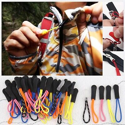 60pcs Multiple Color Zipper Extension Pulls Tag for Key Rings Purses Bag