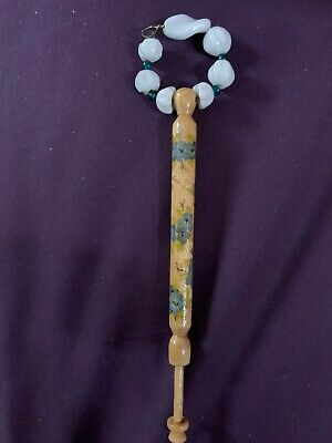 Antique Wooden LACE BOBBIN Hand Painted with Original GLASS SPANGLES