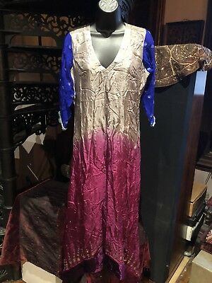 Hand Made Vintage Rhinestones Embroidered Fuchsia Blue Chiffon Indian Dress