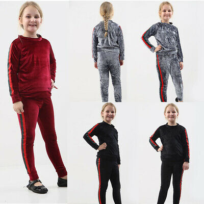 Kids Stripe Velvet Tracksuit Girls Velour Loungewear 2 PC Set UK