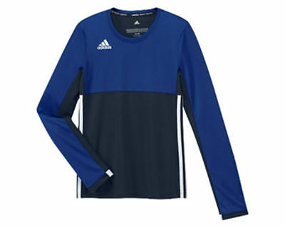 Adidas T16 Climacool Long Sleeve Tee Top Navy Blue White AJ5251 - Kids Girls