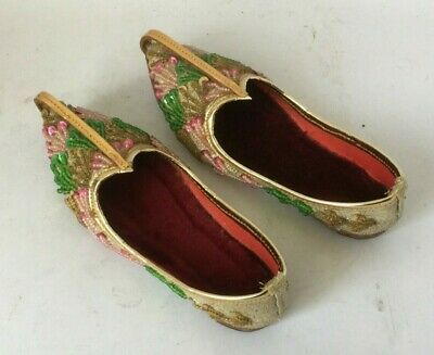 Vintage Arabic/Indian child's bead decorated Slippers/Shoes  c 1940's quality
