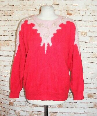 plus size 18 vintage 80s extreme jumper christmas pearls long puff sleeve red