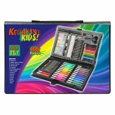 86 Pieces of Crayons Pens Pencils Paints Oil Pastels  in case for Kids