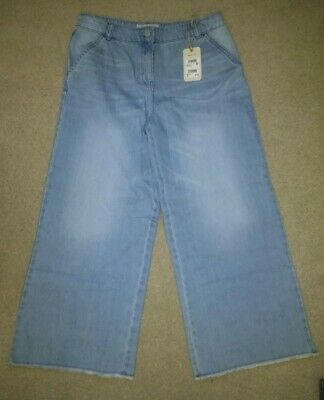Next Light Blue Denim Culotte Cropped Jeans NEW AGE 16 years adjustable waist