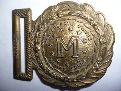 Solid Brass Buckle * Confederate States * Marine Corps * Vintage * Militaria *