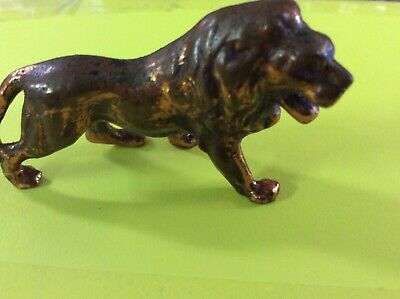 Vintage Solid Copper Collectible lion Figure Animal Miniature Africa Collectable
