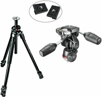 Manfrotto 290 Aluminum Tripod + Two Replacement Release Plates For RC2 Adapter
