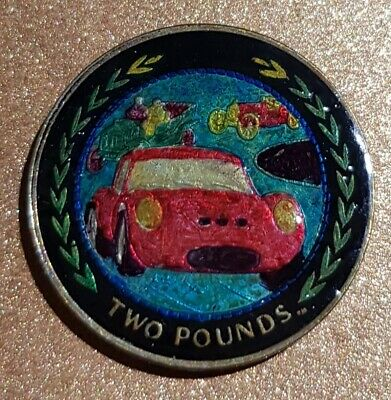 Enamelled Coin Isle Of Man Two Pound Cars Race
