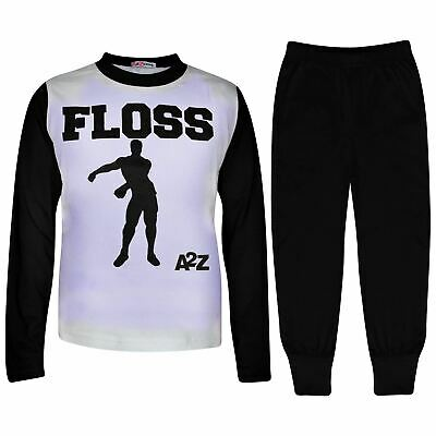 Kids Boys Girls Pyjamas Black Trendy Floss A2Z Print Christmas Loungewear Outfit