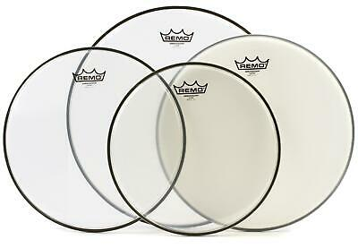 """Remo Ambassador 4-pc Tom Pack - 12""""/13""""/16"""" - Clear with 14"""" Coated"""