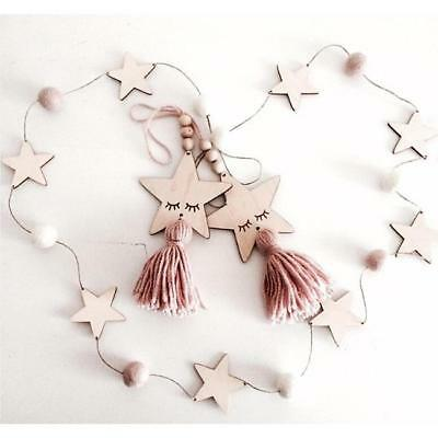 Nordic Style Wood Bead Tassel Wall Hanging Ornaments Kids Bedroom Home Decor RE