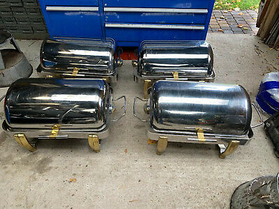 4x CTM Stainless Steel Roll Top Chafing Dishes, Catering, Food Warmer, Event