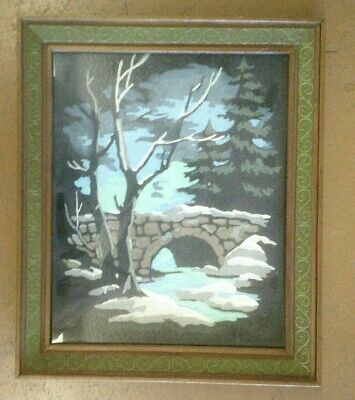 Vintage Framed Paint By Numbers Painting Winter Scene Snow On Stone Bridge