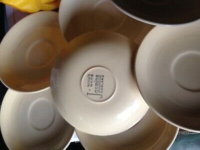 7 Vintage Art Deco Wood's Ware Jasmine Yellow Saucers 1940's SPARES Tea Saucers