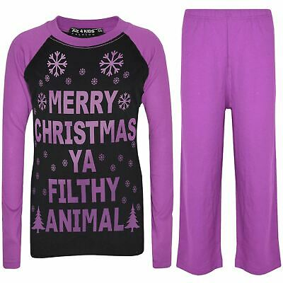 Kids Girls Boys PJ'S YA FILTHY Black & Lilac Print Christmas Pyjamas Set 2-13