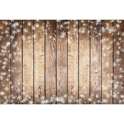 Wood Plank Texture Snowflake Print Photography Background Cloth Backdrop #8Y