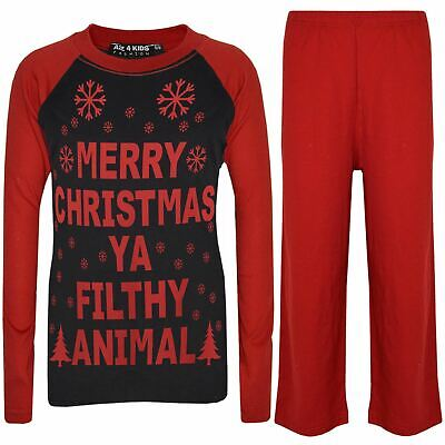 Kids Girls Boys PJ'S YA FILTHY Black & Red Print Christmas Pyjamas Set 2-13