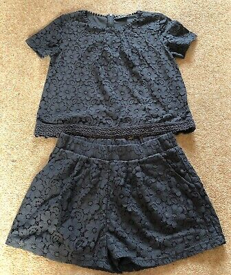 Next 11 Years Girls Floral Navy Top And Shorts Set