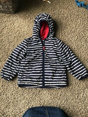 Mini Boden Girls Winter Jacket/ Parka Size 4-5 Navy Blue /White Striped.