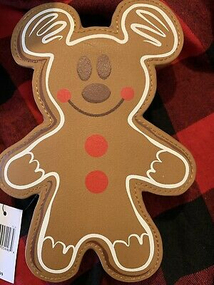 Disney Parks Christmas Holiday Mickey Mouse Gingerbread Cookie Coin Purse Bag