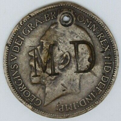 suk 1916 half penny counter stamped MD