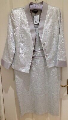 Isabell Campos Silver Dress & Jacket Size 12 NEW RRP £795