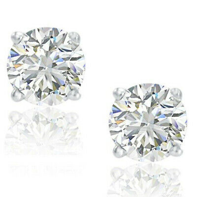 1/2ct Real (Natural) Round Diamond Solitaire Stud Earring set in 14K White Gold