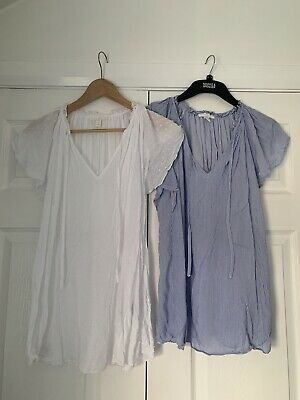 2 Pretty Cotton Maternity Tops, H&M, Size M (White And Blue And White Stripped)