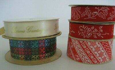 Vintage Christmas Ribbon Red Velveteen and Cloth 48 yards