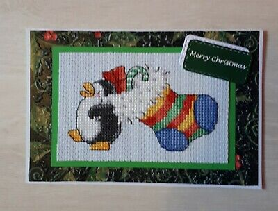 Completed Cross Stitch Christmas Card - Penguin and stocking