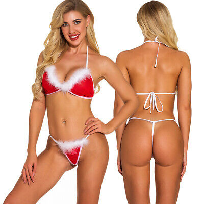 Christmas Women Sexy Lingerrie Bra Ladies Thong G-String Nightwear Underwear Set
