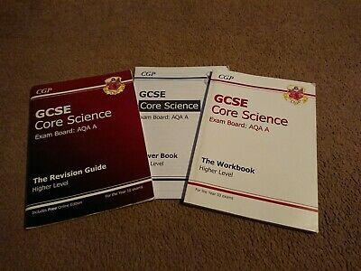 2 CGP GCSE AQA A Core Science Books - The Revision Guide & The Workbook