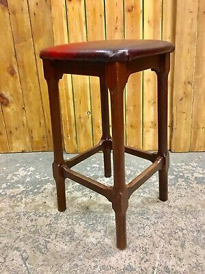 Vintage Tall Hardwood Teak/Mahogany Stool. Oxblood Leather Upholstered Seat.
