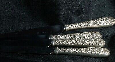 Designer S Kirk & Son Sterling Silver Repousse Pattern Set of 4 Dinner Knives
