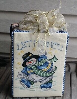 Finished Complete Winter Christmas Cross Stitch stand up SNOWMAN on SKATES