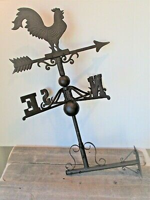 Large Rooster Chicken Weathervane Weather Vane On Stand Reproduction Farm Barn