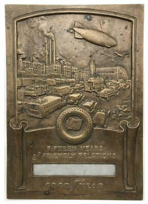 Medallic GOODYEAR Blimp Tire Art Deco 15 Years Relations Metal Award Plaque Sign