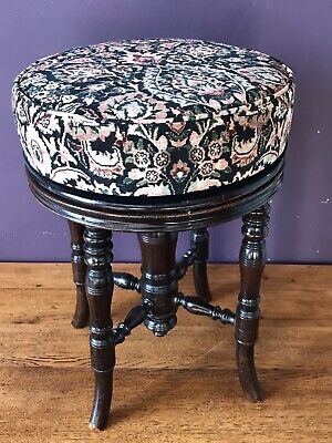 Round Victorian Stool in House of Hackney velvet fabric, Mahogany base