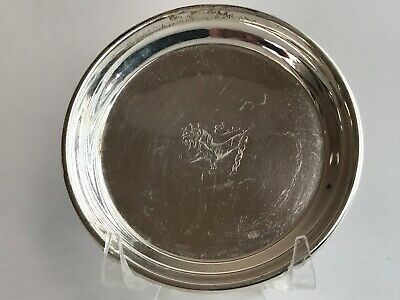 Antique English Sterling Silver Grooved Lion Center Small Plate 21.83 Gram