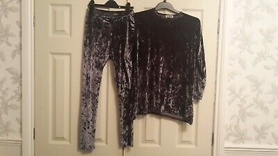Girls Lily Sport grey velour style jogging suit top trousers 14 good condition