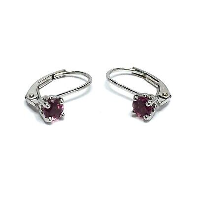 Round Natural Pink Tourmaline Lever Back Earrings 14K White Gold GV7231