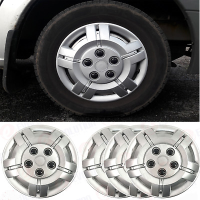 """15"""" To Fit Fiat Scudo Wheel Covers Deep Dish Trims Hub Caps Domed Black Caps"""