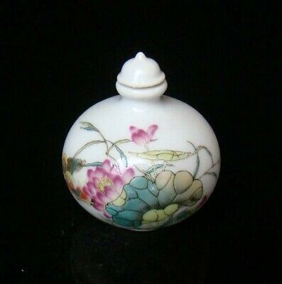 Collectible 100% Handmade Painting Porcelain Snuff Bottles Lotus flower 54