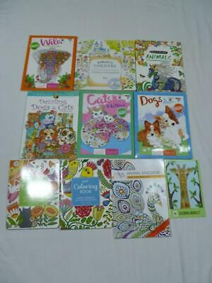 Lot Of 8 New Adult Coloring Books Birds/Animals/Cats/Dogs/Flowers/Country