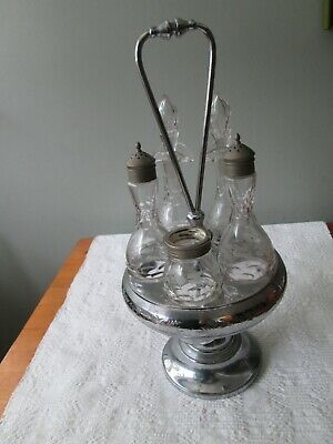 Antique Meriden Silverplate Quadruple Plate Cruet Set Stand w 5 Etchedbo Bottles