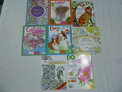 Lot Of 7 New Adult Coloring Books Animals/Cats/Dogs/Country/Copycat