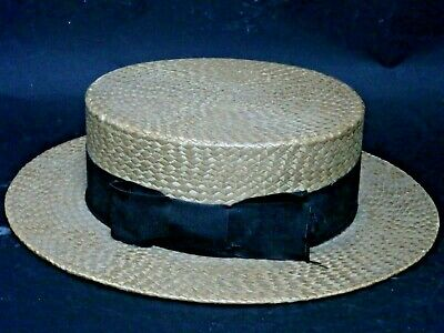 Very Old Good Quality Straw Boater Hat - L@@K