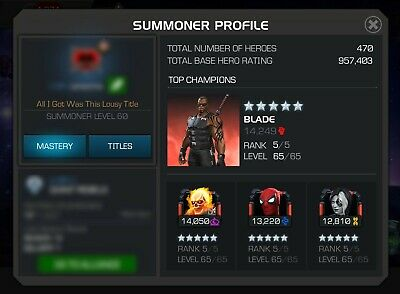 MCOC Marvel Contest of Champions Account (7 god tier 5/65) 6* Void R2/35 more!